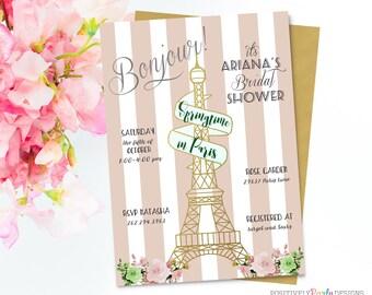 Eiffel Tower Springtime in Paris Bridal Shower Invitation - Gold Floral Eiffel Tower, Spring in Paris, Baby Shower, Birthday, Wedding Invite