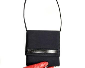 Vintage Black Fabric Purse/Rhinestone Evening Bag/1960's Black Handbag/Made in Canada by Mastercraft/Black Evening Bag/Handled Handbag