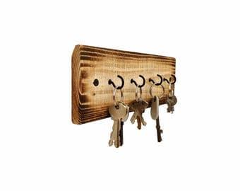 Rustic Key Holder - key hanger key hook rack key rack key hooks wood wall hooks wall decor rustic wall hooks rustic pallet wood hook hangers