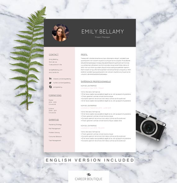 cv template emily resume format cover letter in english