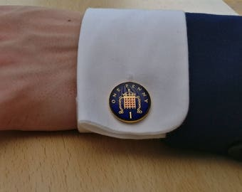 1974 One Penny - Enamelled Coin Cufflinks