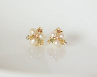 Natural pearl earrings with crystals