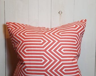 Geometric Coral, coral, Pillow Covers, Modern, Decorative Pillows, Throw Pillows,  Home Decor, Modern, Handmade, 18x18 Pillow Cover