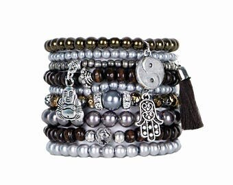 Beaded Bracelets Set of 9 Stretch Bracelets Bohemian Buddha Themed Stack with Silver Tone Charms
