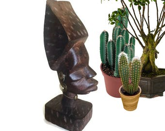 Vintage African Statue Totem Carved Wood Sculpture African Queen Ornate Good Luck Charm Bohemian Decor Tribal Home Bust Statue Real Wood