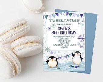 Winter Birthday Party Invitation Penguin Birthday Invite Personalized Birthday Number Polar Birthday Invitation Boy Birthday Party Invites