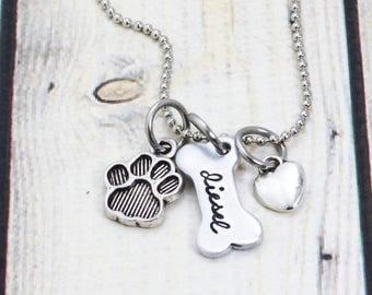 Personalized Dog Bone Necklace - Dog Mom - Custom Dog Name Jewelry - Dog Lover Jewelry Gift - Paw Print Necklace - Dog Mama - Dog Necklace