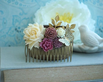 Wedding Comb Bridal Comb Ivory Burgundy Dusty Rose Flower Large Comb Dusty Pink Hair Slide Burgund Wedding Comb Gold Leaf Butterfly Comb