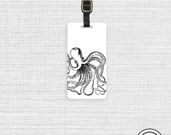 Luggage Tag Octopus Sea Creature Luggage Tag - Custom Metal Tag Shabby Cottage Chic Single Tag