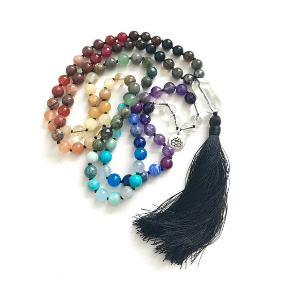 Mala Beads To Balance The Chakras, Chakra Healing Mala Necklace, Mala Beads 108, Yoga Meditation beads, Prayer Beads