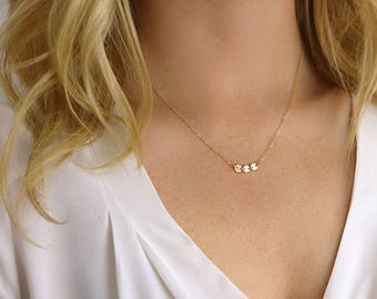Simple Necklace - Three Coins Necklace - Gold Circle Necklace - Bohemian Necklace