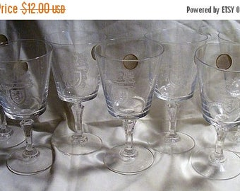"Store Wide Sale Set 7 Bleikaistall ""Flint"" Coat of Arms Crystal Stemware"