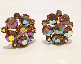 Stunning Weiss AB Rhinestone Cluster Clip On Earrings