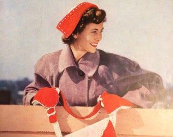 Stitchcraft February 1950 1950's magazine vintage patterns knitting needlecraft crochet