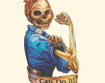 ON SALE Rosie The Riveter skull  - 159 x 293 stitches - Cross Stitch Pattern Pdf - INSTANT Download - B1287