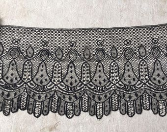 "Antique trim Victorian mourning lace 3 yard x 13"" Black Excellent condition.For vintage clothing sewing costume ,collector, lace museum"