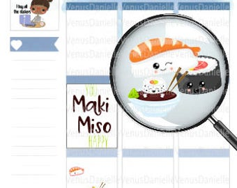 Sushi Planner Stickers, Sushi Stickers, Sushi, Cute Sushi Stickers, Kawaii Sushi, Kawaii Stickers, Food Stickers