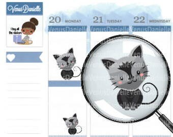 Cat Planner Stickers, Black and Gray stickers, Kitten Stickers, Cat Sticker, Pet Stickers, , Pet Planner, Pet Sitter, Pet Reminder