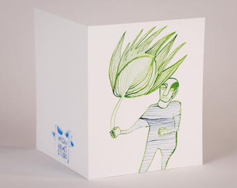 Palm Fron Present-Blank Greeting Card