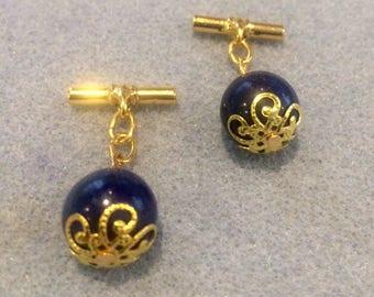 Art Deco Lapis Lazuli chain link Cuff links