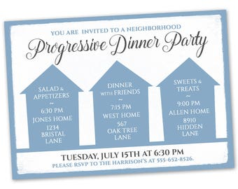 Progressive dinner etsy progressive dinner party invitation announcement card digital customized custom neighborhood block party house gathering blue stopboris Image collections