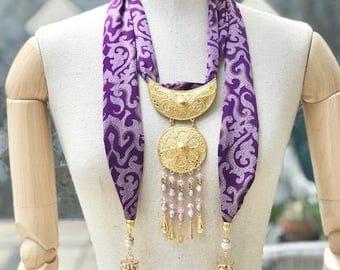 Srikandi Shawl Batik Mega Mendung Purple Pearl