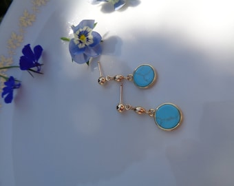 Gold Earrings in 585 gold filled with turquoise/gemstone/Lapis, gold Stud Earrings