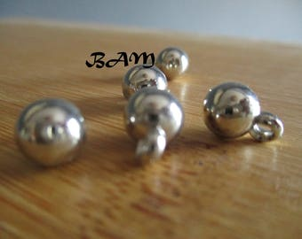 Set of 5 charms 7mm silver balls
