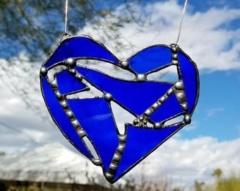 Stained Glass Heart Suncatcher Ornament - Blue with Deco Solder- Great Gift- Window Bling, Glass Hanging, Glass Decor, Glass Window Ornament