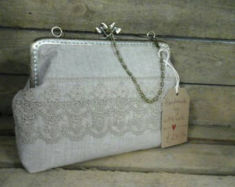Evening bag. Clutch bag. Wedding bag. Wedding handbag. Wedding clutch bag. Bag with kiss clasp. Bag with frame. Small handbag.