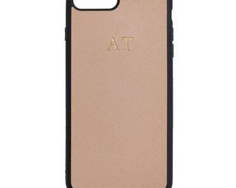 NEW PERSONALISED MONOGRAMMED iPhone 7 Plus Saffiano Leather Cover Case Taupe