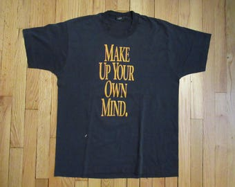XL Vintage 80's Amiga Commodore Computer Make Up Your Own Mind Shirt RARE