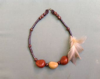 Necklace beads and feathers Aztec inspired