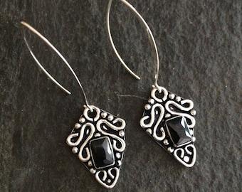 Long Sterling Silver Black Onyx earrings - February Birthstone jewellery gift