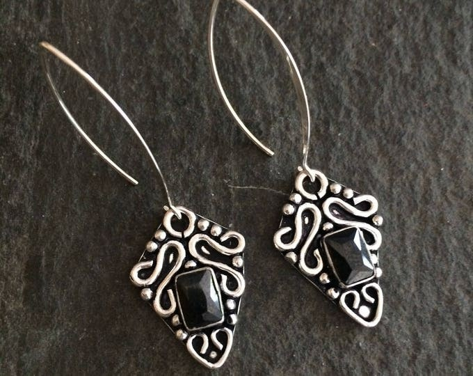 Long Sterling Silver Black Onyx earrings - February Birthstone jewellery gift