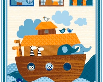 Noah's Ark fabric panel from the Noah's Story Collection by Swizzle Stick Studio for Studio E Fabric