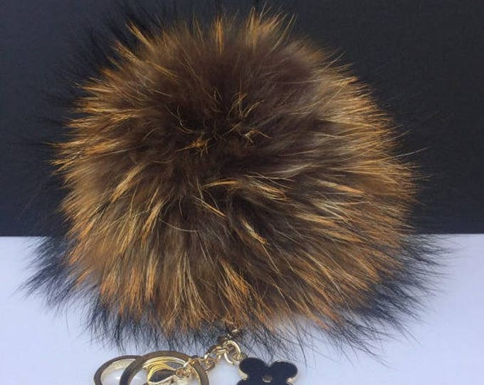 NEW Collection Dimensional Swirl™ Rusty Raccoon Fur Pom Pom bag charm clover flower charm keychain