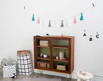 Tassel bunting , tassel garland, felt bunting, babies room decor, girls room decor