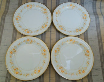 """4 Vintage Noritake China Inspiration Orange & Yellow Floral 10 1/2"""" Dinner Plates"""