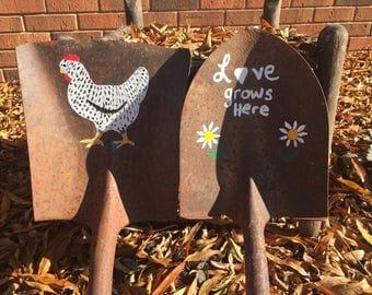 Repurposed hand painted shovel, yard decoration, repurposed garden art