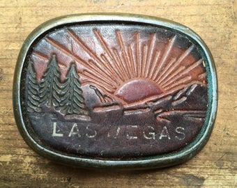 Vintage Las Vegas Belt Buckle Leather and Metal