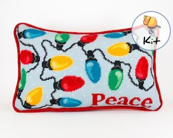 Christmas Needlepoint Kits, Holiday Pillows, Wool Tapestry Kit, Customize the Word, Xmas Craft Needlework kits diy, Custom needlepoint, 9x14