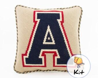 """Initial letter needlepoint kit, Monogram tapestry kit, Beginner needlepoint, College Varsity team letter pillow, Dorm room decor, 10""""x10"""""""