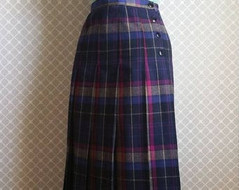 ON SALE Vintage Plaid Wool Skirt by Tica - High Waisted and Fitted Preppy Skirt - Bright Pleated Skirt - Size XS/S