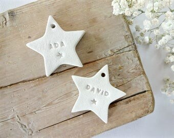 Personalised gift tag /  nursery decor / decorating presents / new baby gift / wedding favors / clay stars / clay tag / gift wrapping