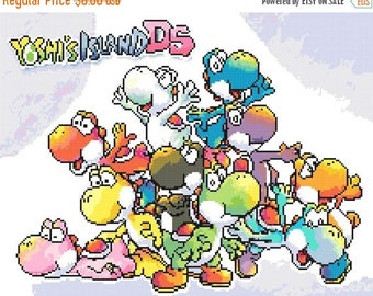 "Nintendo Yoshi Island Counted Cross Stitch Nintendo Pattern bordado grafico de punto de cruz - 15.00"" x 11.79"" - L1072"