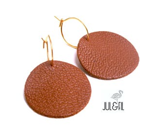 Minimalist Tan Leather and 18 k gold plated earrings