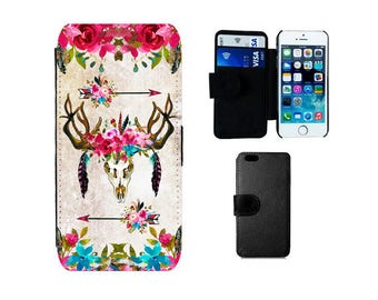 Wallet case iPhone 8 7 6S 6 Plus, X SE 5S 5C 5 4S 4, Samsung Galaxy S8 Plus, S7 S6 Edge, S4 S5 Mini, Note 5, Boho antler phone cover. F334