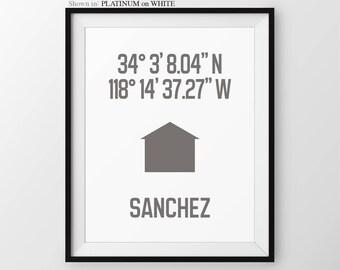 Housewarming Gift, Custom Latitude Longitude Print, Custom Surname Print, Personalized Wall Decor, Personalized Gift, Neutral Decor
