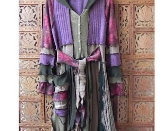 Woodland inspired Elf Coat Spruce/Mulberry Elf Coat Pixie Elf Sweater Coat Upcycled Sweater 'Duchess Jane ...' Size M by the Gypsy Fae